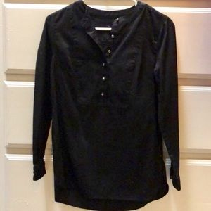 Talbots Black Long Sleeve Top With Jewel Buttons